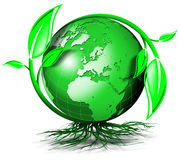World tree. Green terrestrial globe with branches, leaves and roots Stock Photo