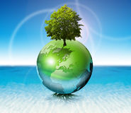 World tree -  ecology concept. Terrestrial globe on the water with roots and tree, the concept of ecology and purity Stock Photo