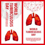 World Tuberculosis Day flyer template. Abstract anatomy organ. Lungs in 3D polygon style Stock Photo