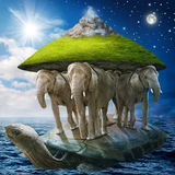 World turtle. Carrying the elephants that carries the earth upon their backs royalty free stock photography