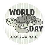 World Turtle day card. Handwritten word, Turtle. Vector Stock Photography