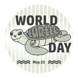 World Turtle day card. Handwritten word, Turtle. Vector. World Turtle Day card.  Handwritten word, cute cartoon sea Turtle on light grey striped background Stock Photography