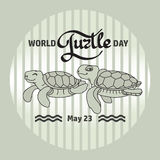 World Turtle day card. Handwritten word, Turtles. Vector Stock Image