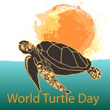 World Turtle Day concept. World Turtle Day 23 May background. Turtle swims in the ocean against the background of the sun. Vector illustration Stock Image