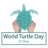 World Turtle Day concept. World Turtle Day 23 May background. Hands of a man holding a turtle. Vector illustration Stock Image
