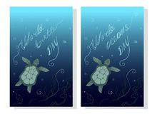 World Turtle Day May 23. Earth and ocean protection. World Oceans Day - Ecological global sunny vector card. The social environmental problem. Web pages Royalty Free Stock Images