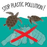 World Turtle Day 23 May. World Turtle Day. Stop plastic pollution. Vector illustration Royalty Free Stock Photos