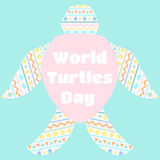 World turtles day. Stylized turtle. Traditional Ornament. Mint color background Stock Photos
