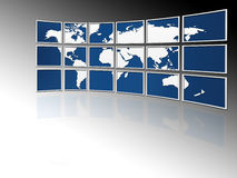 World on tv screens Stock Image