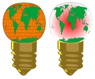 World two bulbs rectangle bulb and world bulb Stock Photo