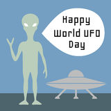 World UFO day. Background with alien and flying saucer Royalty Free Stock Photography