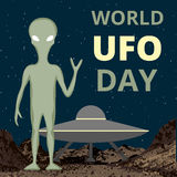 World UFO day. Background with alien and flying saucer Royalty Free Stock Images