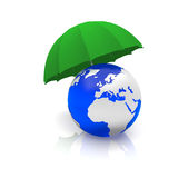 World and an umbrella. World covered by an umbrella Stock Photography
