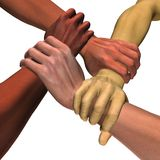 World united. 3D rendered image of four interlocking hands with real skin texture isolated on white Royalty Free Stock Photo