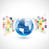 World with variety icons communication concept Stock Image