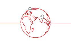 World vector icon with destinations and horizon in red colour on white background. World vector icon with destinations and horizon in red colour royalty free illustration