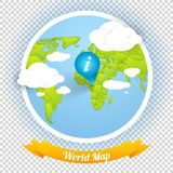 World Vector Map with Marks and Web Elements Templ Stock Image