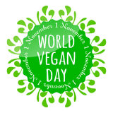 World vegan day badge, emblem, sticker, flyer. Green round badge with floral ornament. First of November is a World vegan day Royalty Free Stock Images