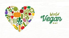 World Vegan Day card with vegetable icons stock photos