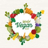 World Vegan Day card with vegetable icons stock images