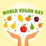 World vegan day concept background, flat style. World vegan day concept background. Flat illustration of world vegan day vector concept background for web design stock illustration