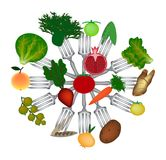 World Vegan Day. Fruits and vegetables on forks. Cabbage, potatoes, carrots, broccoli, apple, pomegranate, currant, lettuce, Stock Image
