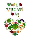 World Vegan Day. Heart of vegetables and fruits. Inscription from fruits and vegetables. Vector illustration Stock Image