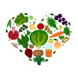 World Vegan Day. Heart of vegetables and fruits. Vector illustration on isolated background. Royalty Free Stock Photo