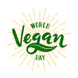 World vegan day Lettering. Vector illustration Royalty Free Stock Image