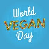 World Vegan Day. Poster. Vegetables font. 1 november Stock Image