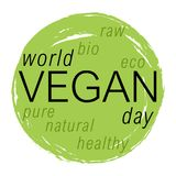World vegan day vector colorful illustration. Circle image good for bio, ecology, organic logos, icons, labels, tags, signs for cafe, restaurants, products Stock Photography