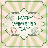 World vegetarian day concept with hand drawn vegetables and lettering typography with burst on a retro textured Stock Image