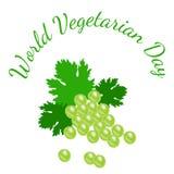 World Vegetarian Day. Fruit - grapes. World Vegetarian Day. Food event concept. Fruit - grapes royalty free illustration