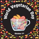 World vegetarian day. Fruit, berry and glass bowl. Royalty Free Stock Photography