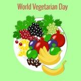 World Vegetarian Day. Fruit picnic - plate, flowers, apple, pomegranate, dates, grapes, banana, figs, lemon. World Vegetarian Day. Food event concept. Fruit stock illustration