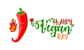 World Vegetarian Day ironic concept. Rasterized. World Vegetarian Day poster. Unhappy angry Chili Pepper gonna burn title with health slogan 'Happy Vegan Day' Royalty Free Stock Photos