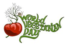 World vegetarian day. Vector illustration, lettering. Tomato and dill. Isolated image royalty free illustration