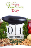 World Vegetarian Day vegetables, nuts and legumes. Stock Photo