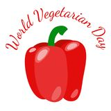 World Vegetarian Day. Vegetables - red bell pepper. World Vegetarian Day. Food event concept. Vegetables - red bell pepper royalty free illustration