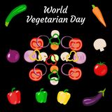 World Vegetarian Day. Vegetables - whole and sliced. Zucchini, carrot, onion, tomato, bell pepper, mushroom, eggplant. World Vegetarian Day. Food event concept royalty free illustration