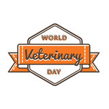 World Veterinary day greeting emblem Royalty Free Stock Images