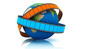 World Of Video. 3D rendered. Isolated on white. World Of Video Stock Photo