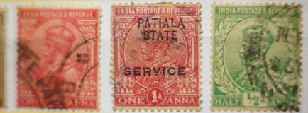 WORLD VINTAGE STAMP INDIA, FINE GRAFICS. 3 stamps from India of over a hundred years around the world Royalty Free Stock Images