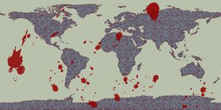 World violence grunge map. Grunge styled global map depicting the concept of world violence stock illustration