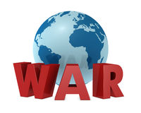 The world and the war. Render 3d of a globe with the word war in front of it stock illustration