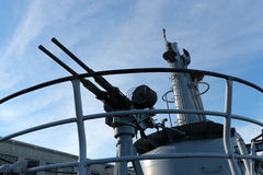 World War 2 anti-aircraft deck gun Stock Photography