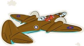 World War 2 Bomber Attacking. WWII Royal Air Force bomber firing gun turrets Royalty Free Stock Photo
