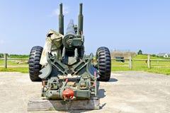 World war 2 cannon on german bunker Stock Photography