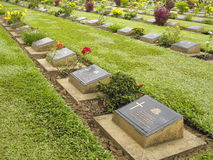 World War 2 Cemetary. For Allied prisoners of war in Kanchanaburi, Thailand Royalty Free Stock Image