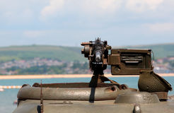 World War 2 Machine gun on green tank Stock Images